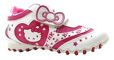 Girl's Hello Kitty Napoleon White & Pink Star Print And Bow Velcro Shoes New