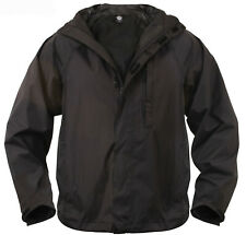 Rain Jacket Black Tactical Waterproof Packable Outerwear rothco 3754