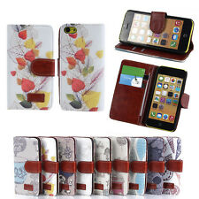 Pattern Printed PU Leather Magnetic Flip Wallet Case Cover For Apple Iphone 5C