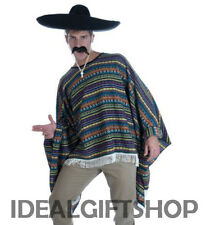 MENS QUALITY MEXICAN FANCY DRESS COSTUME PONCHO WESTERN COWBOY BANDIT ADULT