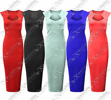 Ladies Bodycon Dresses Midi Square Neck Dress Knee Length Long Skirt Tops