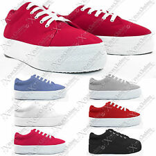New Ladies Womens Wedge Platform Canvas Trainers Creepers Pumps Lace Shoes Flats