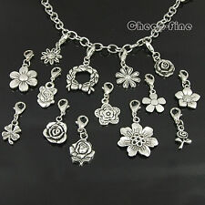 Lots 30X,28X Charm Silver beautiful flowers Beads Pendant For jewelry DiY