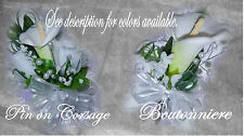 Wedding Bouquets, Calla Lily CORSAGE / BOUTONNIERE Rosettes in your colors