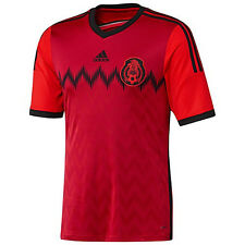 adidas Mexico El Tri World Cup WC 2014 Away Soccer Jersey New Red / Black