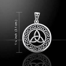 Open Trinity Knot Silver Pendant with decorative Celtic Link Knot surround