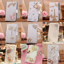 15 Styles Luxury 3D Bling Crystal Rhinestone Flip Wallet PU Leather Case Cover