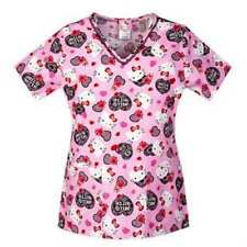 Hello Kitty Womens Pink Valentine Medical Smock Top Nurse Scrubs Shirt Love