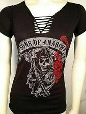 AUTHENTIC SONS OF ANARCHY REAPER ROSES BRAIDED V-NECK JRS SOA TEE T SHIRT S-XL