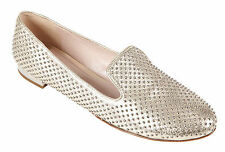 MIU MIU WOMEN'S LEATHER LOAFERS MOCCASINS NEW GOLD  272