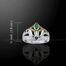 Stunning Irish Claddagh Silver and Gold Accent Ring with Emerald Glass