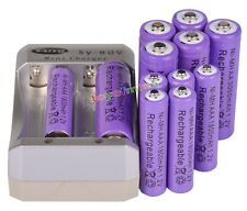 6x AA 3000mAh + 6x AAA 1800mAh Rechargeable 1.2V Ni-MH Pruple Battery +Charger
