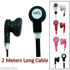 3.5mm 2M 2 Meters Long Flat Cable Tangle Free Earbud Headphones Earphone Headset