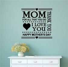 Mom For All That You Do Mother's Day Vinyl Decal Wall Stickers Words Lettering