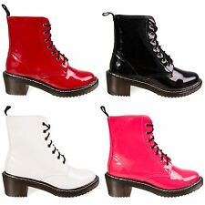 Hidden Fashion Women Faux Patent Leather Lace Up Heeled Worker Boots