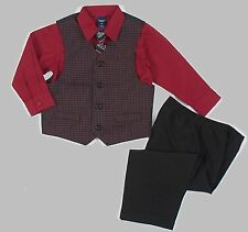 JONATHAN STRONG Boy's Size 2T, 3T OR 4T Plaid Checkered Vest Red Suit Set, NEW