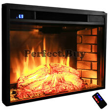 1500W Insert Glowing Logs Black Electric Firebox Fireplace Heater