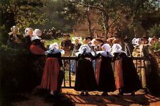 HARVEST FESTIVAL 1884 PEOPLE OF BRITTANY COMMUNITY PAINT BY HENRY MOSLER REPRO