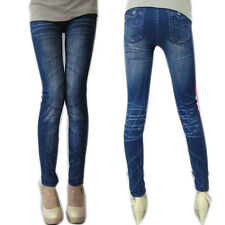 Trendy Women Lady Stonewash Denim Skinny Leggings Stretch Pencil Pants Trousers