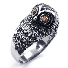 TS403 Mens Red CZ Night Owl Lifelike Punk Rock Stainless Steel Ring US Size 8-13