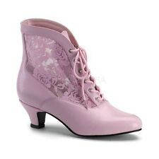 """Gorgeous 2"""" Pink & Lace Victorian Granny Pioneer Cosplay Ankle Boots Witch 6-12"""