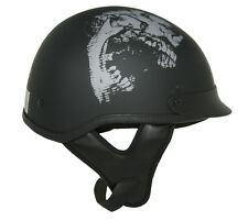 Lunatic Shorty Helmet Matte Black w/ Skull - DOT - Adult Motorcycle Half Helmet