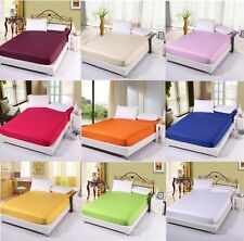 NEW 100% Cotton Bed Fitted Sheet 15 COLORS All Sizes