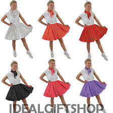 ADULTS SHORT ROCK N ROLL SET POLKA DOT SKIRT FANCY DRESS COSTUME 1950'S LADIES