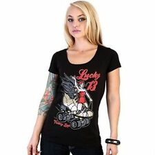 Authentic Lucky 13 Roller Derby Skate Wing Rider Punk Tattoo Goth T Shirt S-Xxl