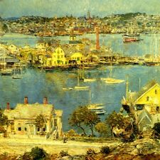 GLOUCESTER HARBOR 1909 AMERICAN IMPRESSIONIST PAINTING BY CHILDE HASSAM REPRO