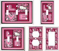 HELLO KITTY LOVE PINK   IMAGE  LIGHT SWITCH COVER PLATE U PICK SIZE