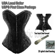 Womens Spiral Steel Boned Black Floral Brocade Bustier Top Lingerie Corset S-6XL