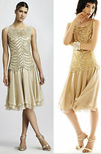 $590 Tadashi Shoji Gold Tiered Sequined Crocheted Lace Cocktail Dress
