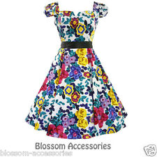 RKH49 Hearts & Roses Floral Cap Sleeve Rockabilly Dress 50's Vintage Swing