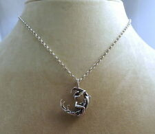 Sterling Silver Woman Riding the Moon (PG13) on a Silver Rolo Style Chain - 0727