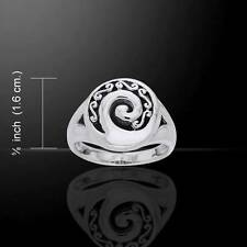Unique Spiral & Celtic Knot Sterling Silver Ring - really unusual design