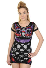 Banned Apparel Owl Tattoo Slash Sleeve Scoop Neck Black Gothic Tunic Mini Dress