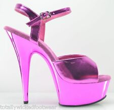 "PREVIOUSLY SOLD Delight 609 Metallic Pink Platform Ankle Strap Shoe 6"" Heel SZ 8"