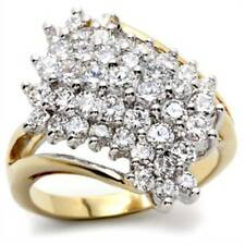 2W006PB  RAISED CLUSTER  CZ RING CUBIC ZIRCONIA WOMENS 18KT ION PVD REALISTIC