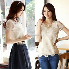 Finejo Womens Chiffon Shirt Lace Top Beading Embroidery O-neck Blouse Tops SH