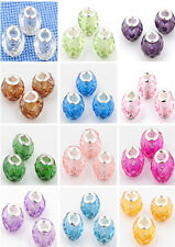 10pcs Acrylic crystal silver beads for European beaded charms bracelet 13 Colors