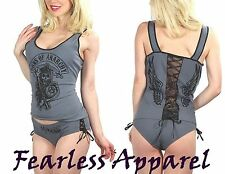 SONS OF ANARCHY SOA GRAY TIE BACK CAMISOLE SLEEP SET PAJAMAS PJS LINGERIE S-XL