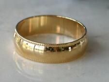 6MM MENS WOMENS 24K GOLD EP WEDDING BAND MILGRAIN FINISH SIZE 7 8 9 10 11 12 13