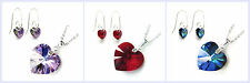 Swarovski Elements Crystal Heart Love Pendant STR Silver Necklace & Hook Earring