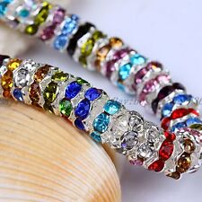 100pcs Quality Crystal Rhinestone Wavy SILVER PLATED Rondelle Spacer BEADS