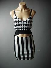 Black White Harlequin Stripe Print Vtg-y 60s Gogo Mod Cut Out 78 mv Dress S M L