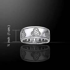 Zoomorphic Spiral Celtic Spinner Silver Ring - Size Selectable - Newgrange style