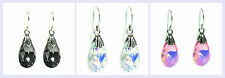 STR Silver French Hook w/ Faceted Briolette Swarovski Elements Dangle Earring
