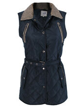 Herringbone Collar Quilted Long Gilet Womens Padded Body Warmer Jacket Size