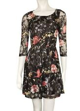 New Black Lace Dress, Floral Print Skater Dress, Sizes 6-14, C&A Clockhouse